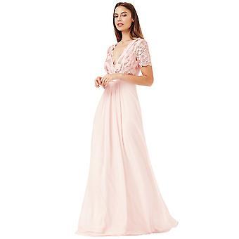 Sequin short-sleeve v-neck lace & chiffon maxi dress