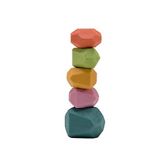 Wooden  Building Block Colored Stone - Creative Educational