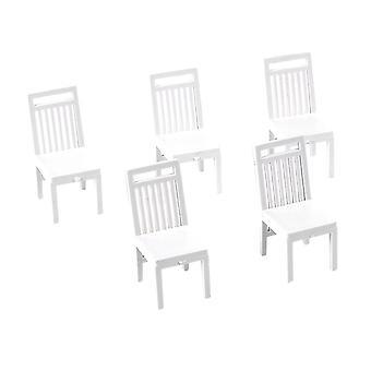 5pcs Dollhouse Krzesło Mini Meble Krzesło Salon Jadalnia Krzesło dla DIY