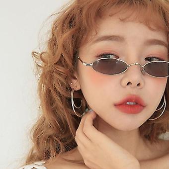 Retro malé oválne kovové slnečné okuliare pre módnych návrhárov
