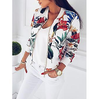 Women Crop Vintage Floral Print Zipper Bomber Jackets Coat
