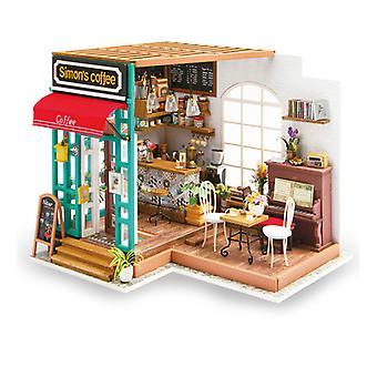 Симонзапос;s Кофе DIY Деревянные миниатюрные Dollhouse 1:24 Ручной кукольный дом Модель Строительство Комплекты Игрушки для детей взрослых