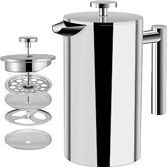 French Coffee Press - Double Wall 100% Stainless Steel - 1000 ml/ 1 Liter