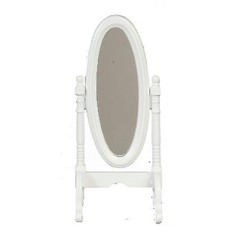 Dolls House Miniature Bedroom Furniture White Cheval Dressing Mirror