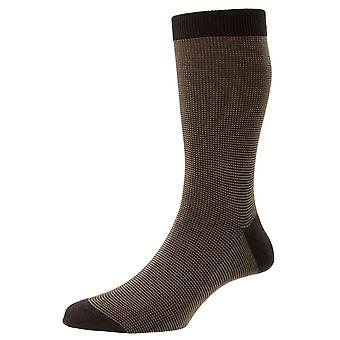 Pantherella Tewkesbury Cotton Fil D'Ecosse Socks - Dark Brown Mix