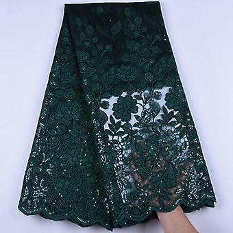 Top Milk Silk Lace Sequins Embroiderd African Lace Fabric High Quality