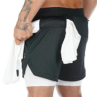 2 In 1 Double-deck Quick Dry Gym Sport Shorts