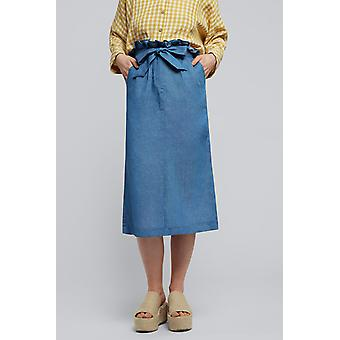 Louche Womens Prescilla Chambray Paper Bag Waisted Midi Skirt Chambray-10