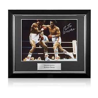 Roberto Duran Signed Boxing Photo. Deluxe Frame
