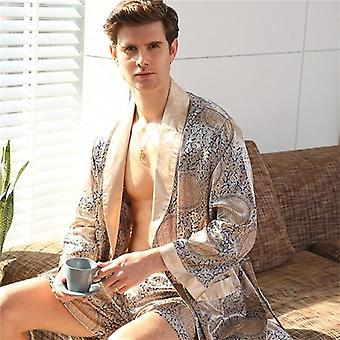 Satin Robe Full Sleeve Sleepwear Long Gentle Print Nightwear Halat de baie Acasă