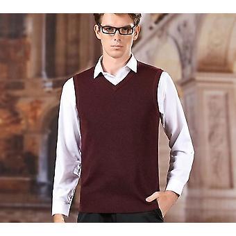 Solid Color V-neck Vest Sweater, Men Clothing