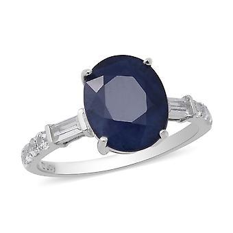 Blauwe Saffier Solitaire Ring voor Vrouwen Zilveren Valentijnscadeau met Zirkoon