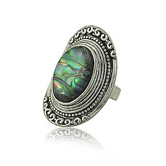 Retro Ring Exaggerated Green Gem Carved Finger Ring For Ceremony