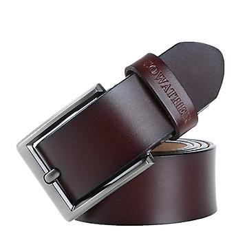 COWATHER XF002 Pánské pravé kožené luxusní obchodní ležérní sponový pás, délka pásu: 110cm (káva XF002)