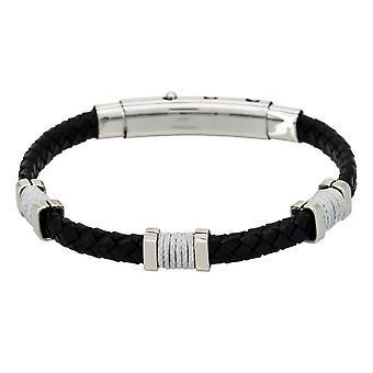 Herenstaal en zwart leren armband 'apos;BLACK EYES'apos;
