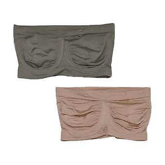 Rhonda Shear One 2-Pack Bandeau Removable Pads Gray Bra Set 652682