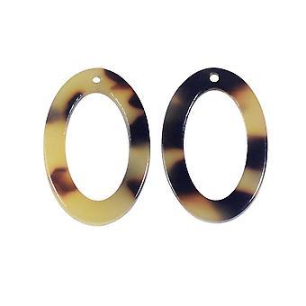 Colgante de acetato de Zola Elements, óvalo 15x22mm, 2 piezas, concha de tortuga marrón claro
