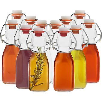 HanFei Kleine Flaschen Zum Befüllen (12er Pack) - 100ml Glasflaschen mit Bügelverschluss -