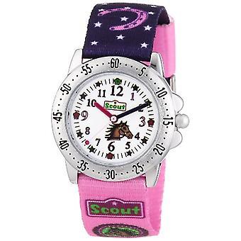 Scout 280378065 - Tyttö rannekello, kangas, väri: vaaleanpunainen