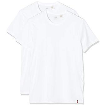Levi's Slim 2Pk Crewneck 1 T-paita, Kahden pakkauksen Tee Valkoinen + Valkoinen, L Miehet