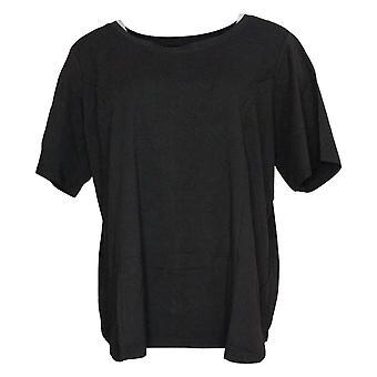 Bob Mackie Women's Top Essentials Scoop Neck Jersey Black A305608