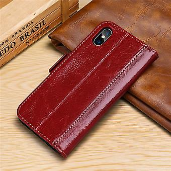 Wallet leather case card slot for iphonexs max red on992