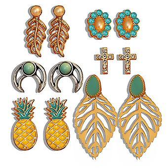 Boucles d'oreilles set á 6 pcs feuilles d'ananas plaquées or croix or