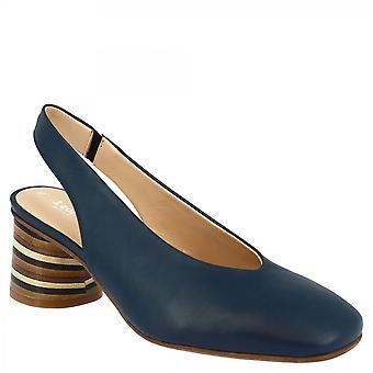 Leonardo Shoes Women's handmade slingback pumps shoes in blue napa leather