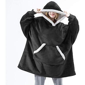 Čierne dámske hrubé pyžamo nositeľné jahňacie zamatové lenivá prikrývka domáce príležitostné plyšový sveter s kapucňou x3796