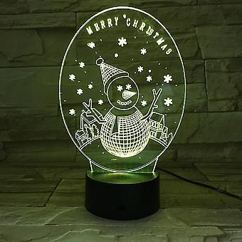 Christmas 3d Small Night Lamp Alarm Clock Base Colorful Led Light Snowman