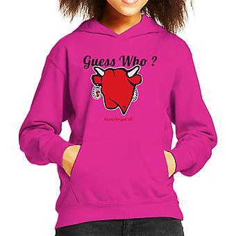 Den grinende ko gæt hvem Kid's hætteklædte sweatshirt