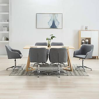 vidaXL Dining Chairs Swivel 6 pcs. Light Grey Fabric