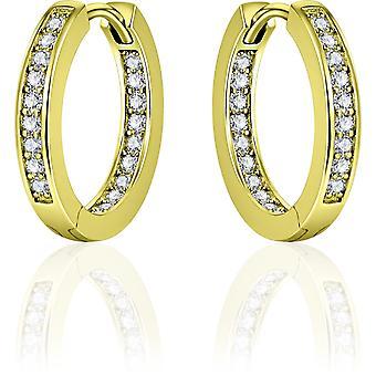 Gisser Jewels - Örhängen - Örhängen med gångjärn - tillplattade med Zirconia på utsidan och insidan - 3mm Bred - 20mmØ - Gult Guldpläterat Silver 925