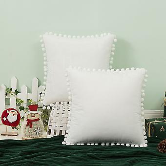 Retro punainen joulu koti sohva koristeellinen sametti pallo tupsu tyynyliina ilman ydintä