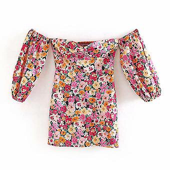 Women Holiday Wind Floral Printing Slim Mini Dress Off Shoulder Puff Sleeve
