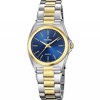 Festina F20556-4 Women's Blue Dial Two Tone Bracelet Wristwatch