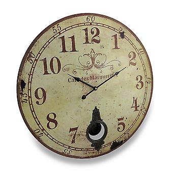 Cafe De Marguerites Vintage Style Pendulum Wall Clock 23 In.