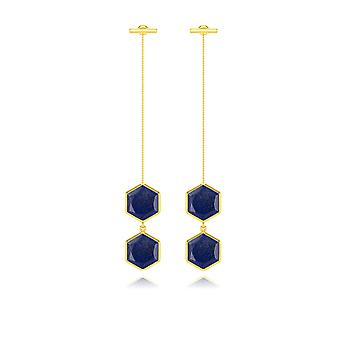 ADEN Gold Plated 925 Sterling Silver Lapis-lazuli Earrings (id 6295)