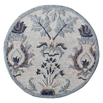 3' Round Gray Floral Patterns Area Rug