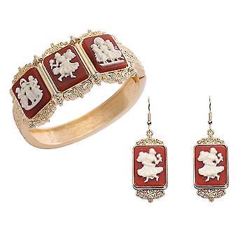 TJC Designer, Hoop Smykker Sæt til Kvinders Red Cameo i rustfrit stål
