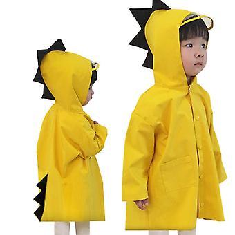 Mignon Dinosaure Polyester Bébé Imperméable à l'eau extérieur Manteau de pluie Enfants Imperméable Poncho Garçons Filles Veste de pluie Jaune