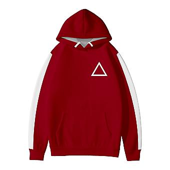 Red Squid Game Triangle Print Hooded Sweatshirt Men And Women Sweatshirt (one Adult Sweatshirt)