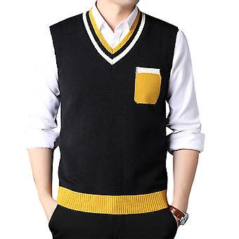 Mile Men's  Knitted Gilets Sweater Relax Fit V Neck Vest Sleeveless Jumper