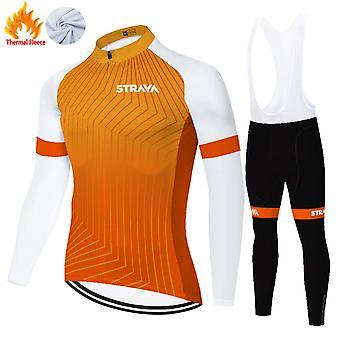 Strava Men's Winter Thermal Fleece Cycling Jersey Set + 3d Pants Trousers /orange