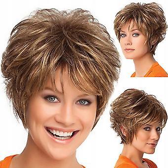 Short Curly Hair Gradient Ladies Wig (a)