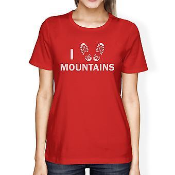 Ik hart bergen vrouwen rode bemanning hals T-Shirt cadeau-ideeën voor vaders