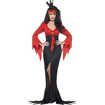 De boze koningin kostuum met vleermuis print jurk maat L