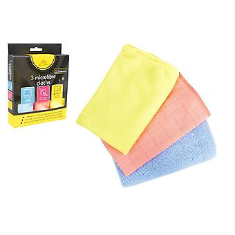Home Editions Pack of 3 Assorted Microfibre Cloths for Cleaning & Dusting 30 x 30cm