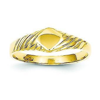14k Yellow Gold Solid Gepolijst engravable Closed back voor jongens of meisjes Fancy Signet Ring Size 3