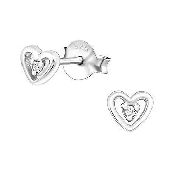 Heart - 925 Sterling Silver Cubic Zirconia Ear Studs - W27231X